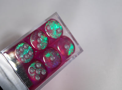Old Glitter Borealis Pink/Silver d6 Block Dice RARE OOP Chessex 27286 16mm