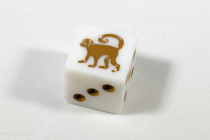 White Dice with Monkey; 6 Sided Bunco RPG Game D6 16mm Roll Square Corner