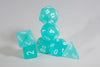 Chessex Polyhedral 7 Die Frosted Teal w/ White Numbers Set Of 7 Dice CHX 27405