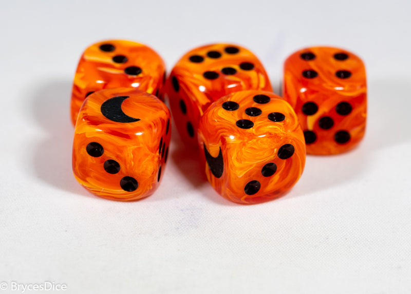 Custom Crescent Moon Vortex Orange/black Chessex Magic Rare by BrycesDice