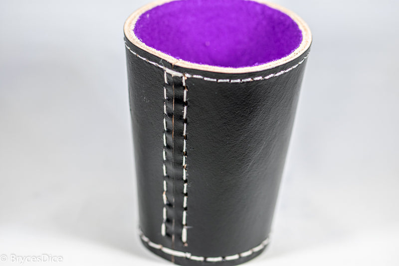 Handmade Leather Dice Cup (Black w/Purple Lining)