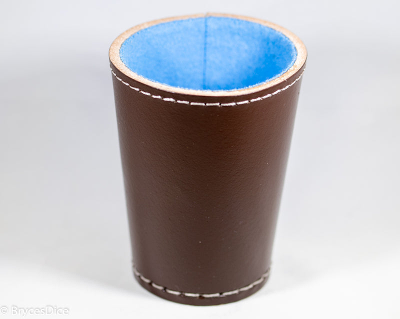 Handmade Leather Dice Cup (Brown w/Blue Lining)