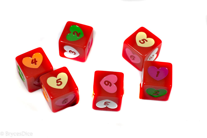 Candy Heart Dice Acrylic 16mm White, Pink, Purple, Yellow, Green