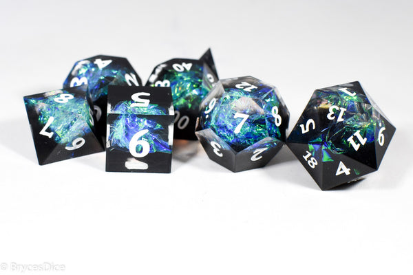 Deep Nether Sharp Edge Resin 7-Dice Dice (Blue-Green and Black w/ White Numbers)