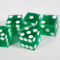 Green Casino Dice d6 19mm Razor Edge No Serial Numbers or Names Clean