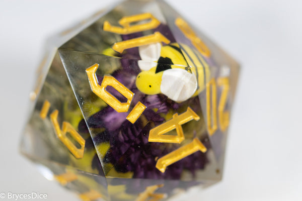 Purple Marigold 55mm D20 w/Bumble Bee (Gold)
