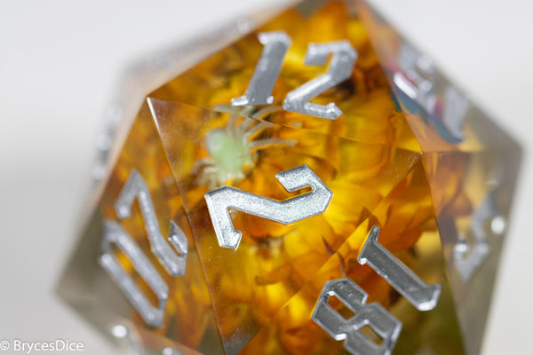 Orange Marigold 55mm D20 w/Spider and Butterfly (Silver) 1 of 1