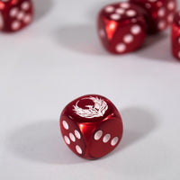 Custom White Phoenix on Red Velvet d6 Chessex Magic by BrycesDice