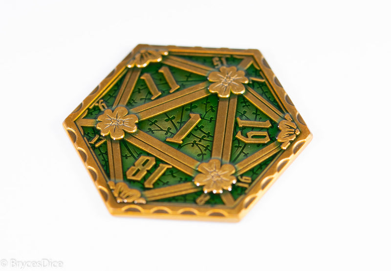 Gold Green Enamel Effect D20 Metal Coins d2