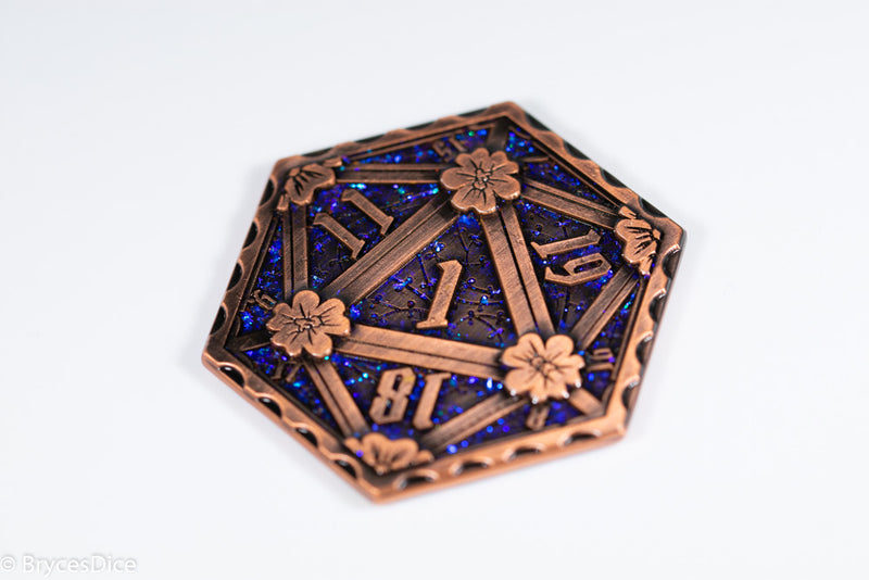 Bronze d2 Coin Shaped like d20 w/ Purple-Blue Glitter