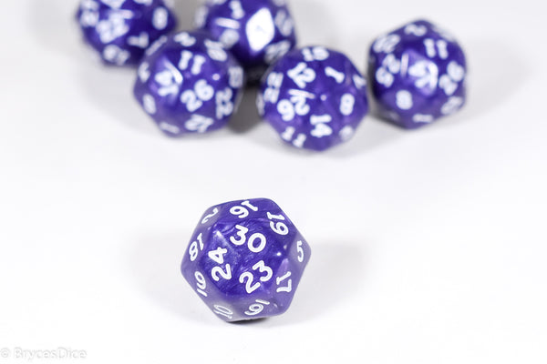 d30 Purple Pearlescent Single Die 30 Side's by Chessex (per die)