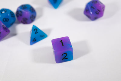 Blue and Purple Glow-in-the-Dark 7-Die Set w/Black Numbers by HDdice
