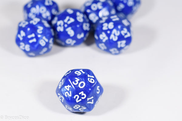 d30 Blue Pearlescent Single Die 30 Side's by Chessex (per die)
