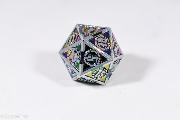Single d20 Silver w/Rainbow Inlay Sword Strengthened Metal