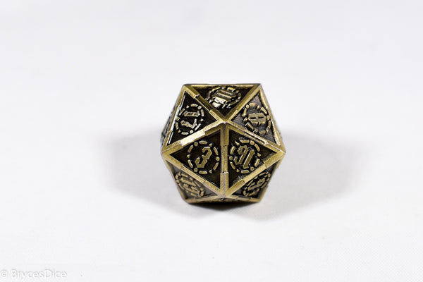 Single d20 Gold Sword Strengthened Metal
