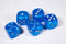 Double Arrow Light Blue Velvet Dice 16mm D6 Chessex - with Silver Pips