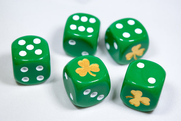 Gold Shamrock Opaque Green Die 16mm D6 Chessex Dice - with White Pips