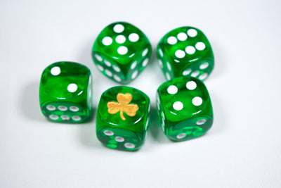 Gold Shamrock Translucent Green Die 16mm D6 Chessex Dice - with White Pips