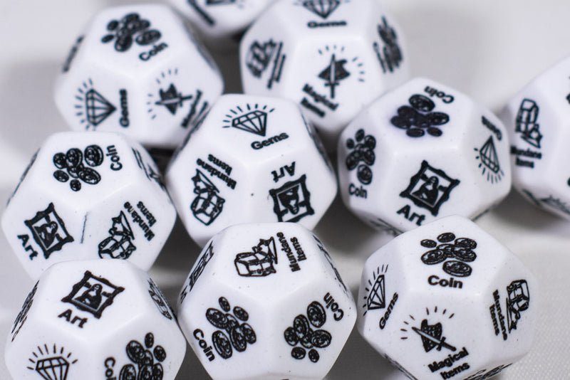 Treasure d12 Opaque White Loot Dice (Custom engraved) By Piece