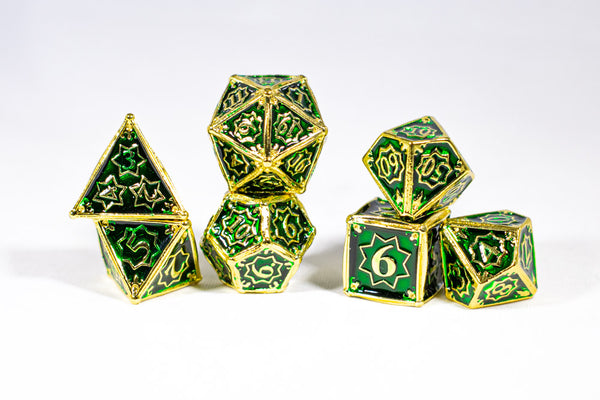 Celtic Shards 7-Dice Metal Set Gold w/ Green Fill {North Star Dice Collection}