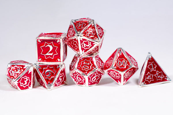 Defender 7-Dice Metal Set Silver w/ Red Fill {North Star Dice Collection}