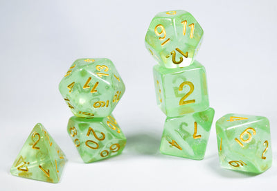Iridescence Deep Glitter Green Poly Dice Set with Gold (7) RPG DnD HdDice