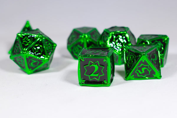 Alien 7-Dice Metal Set Green w/ Black Fill {North Star Dice Collection}