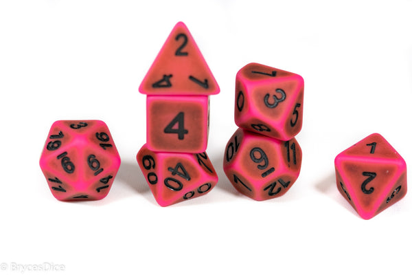 """Used Eraser"" Pink w/Green Ancient Effect 7-Dice Set"