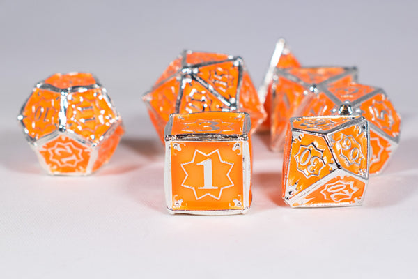 Orangesicle 7-Dice Metal Set Silver w/ Orange Fill {North Star Dice Collection}