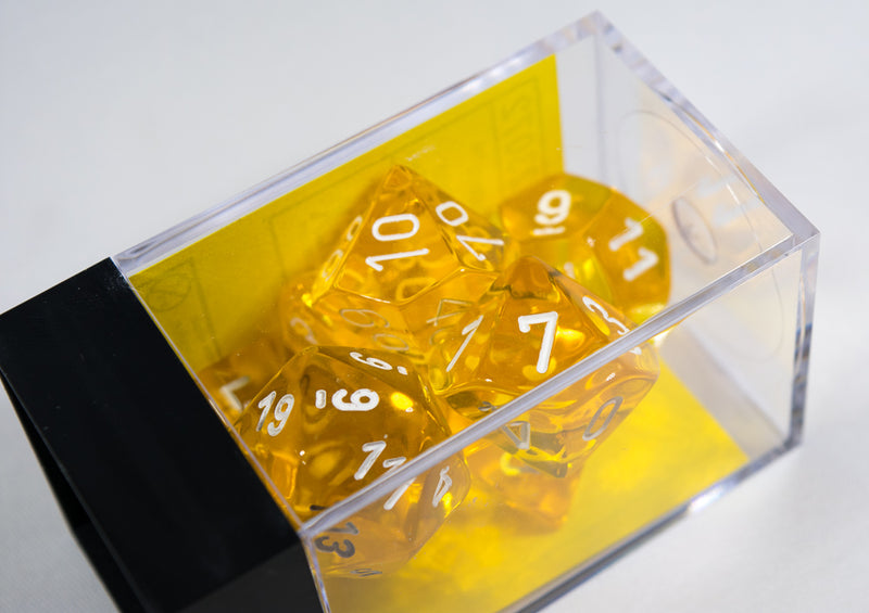 New Yellow Translucent 7-Die Chessex Sets Made in Germany CHX 23072