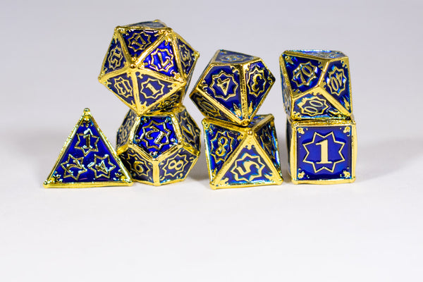 Space King 7-Dice Metal Set Gold w/ Blue Fill {North Star Dice Collection}