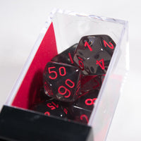 New Smoke/Red Translucent 7-Die Chessex Sets Made in Germany CHX 23088