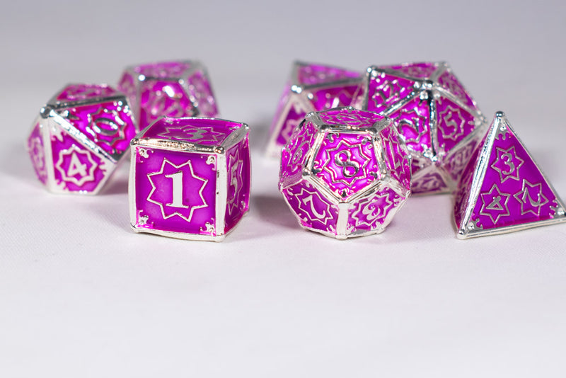 Pretty Paladin 7-Dice Metal Set Silver w/ Pink Fuschia Fill {North Star Dice Collection}