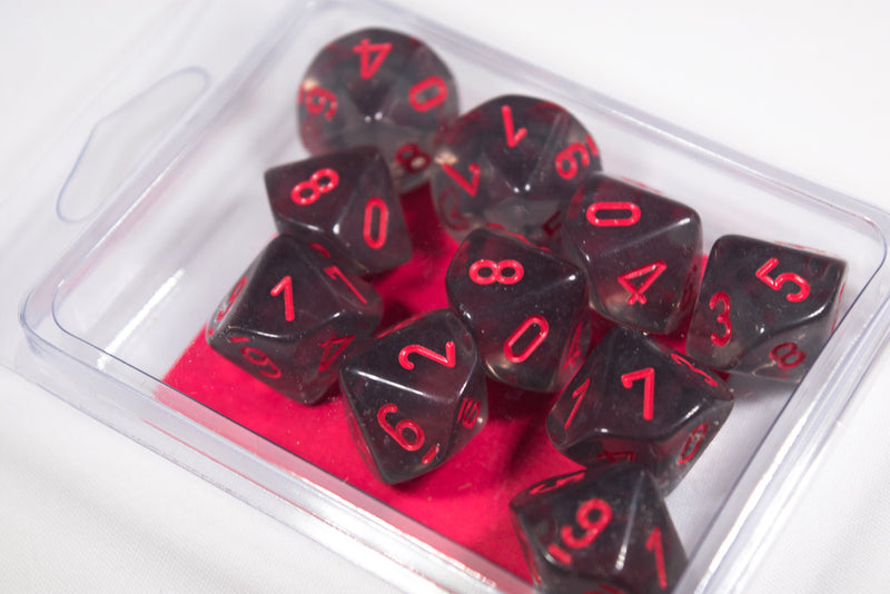 Translucent Smoke/red Set of Ten d10 Dice by Chessex CHX 23288