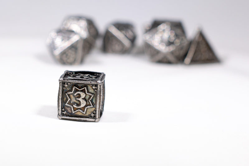 Orion's Silver 7-Dice Metal Set {North Star Dice Collection}
