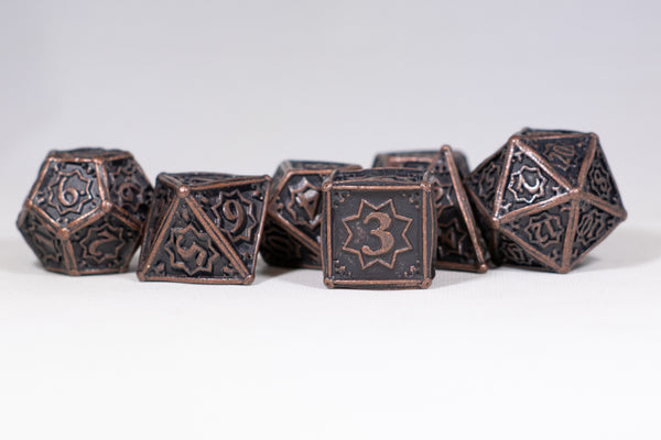 Rustic Copper 7-Dice Metal Set {North Star Dice Collection}