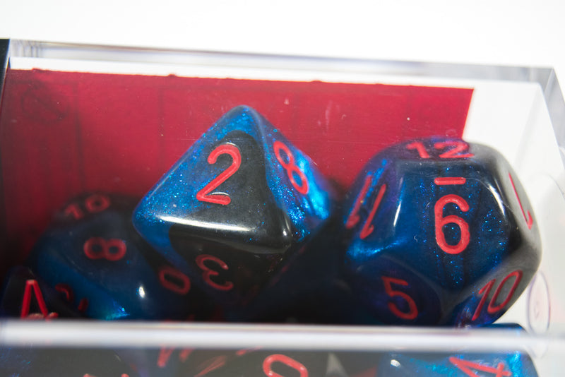 CHX 26458 Polyhedral 7-Die Gemini Black-Starlight /red Numbers Set Of 7 Dice Chessex