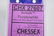 CHX 27607 Borealis Purple w/white 16mm d6 Numbers Dice Chessex