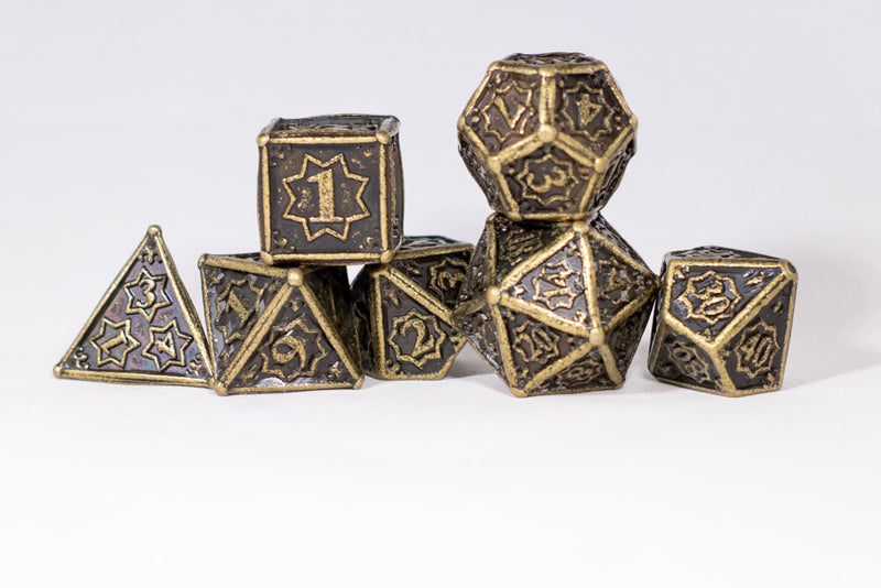 Ancient Gold 7-Dice Metal Set {North Star Dice Collection}