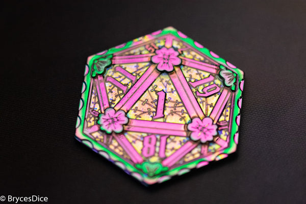 Rainbow d2 Coin Shaped like d20 w/ Purple Tint (V1)