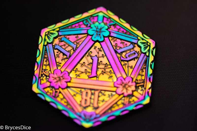 Rainbow d2 Coin Shaped like d20 w/ Purple/Yellow Tint (V2)