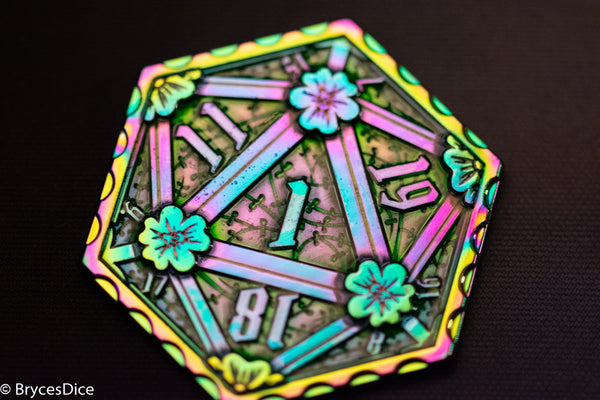 Rainbow d2 Coin Shaped like d20 w/ Purple/Green Tint (V3)