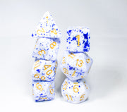 Splattered Blue 7-Dice Set with Gold Numbers