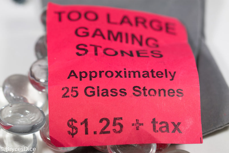 Clear Glass Stones Off-Sized Bagged (approx 25) Glass Gaming