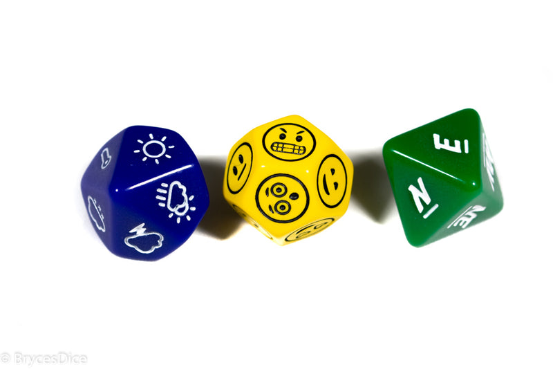 Emotion, Weather, and Direction Dice 3pc Set by Bescon