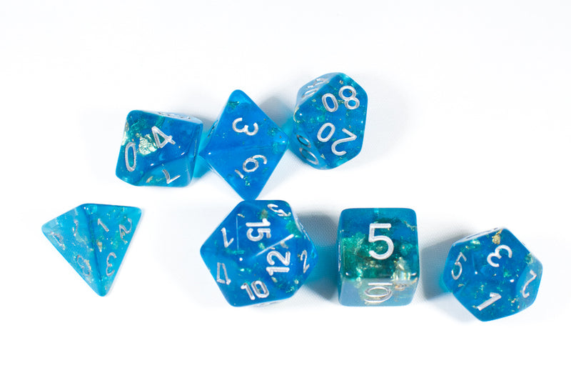 Blue with Gold Flakes 7-Dice Set with Silver Numbers