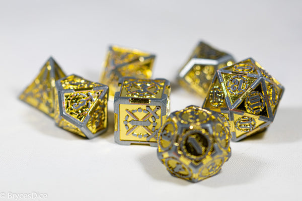 Silver w/Gold Inlay Sword Strengthened Metal 7-Dice Set