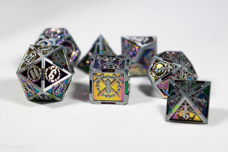 Silver w/Rainbow Inlay Sword Strengthened Metal 7-Dice Set