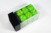 16mm d6 Block Vortex Slime w/ Yellow Numbers CHX 27715