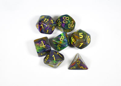 CHX 27449 Polyhedral 7-Die Festive Rio w/ Yellow Numbers